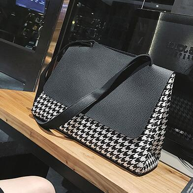 European style Fashion New Women Handbags Quality PU leather Houndstooth Hit the color Large capacity Tote bag Big Shoulder Bags