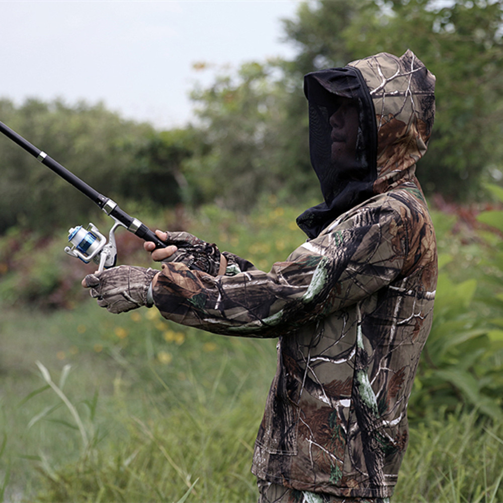 62fa682bb56a1 Aliexpress.com : Buy NEW Summer Bionic Camo Fishing Clothing Anti mosquito  Hooded Fishing Suit Lightweight Camo Hunting Suit JacketPant for MenWomen  from ...