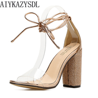AIYKAZYSDL Elegant Fashion Women Pumps Crystal Rhinestone Think High Heels Cross Strap Gladiator Sandals Clear Transparent
