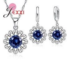 JEXXI Trendy AAA Austrian Crystal Sunflower Pendant 925 Sterling Silver Jewelry Set for Women Wedding Hoop Earring Necklace