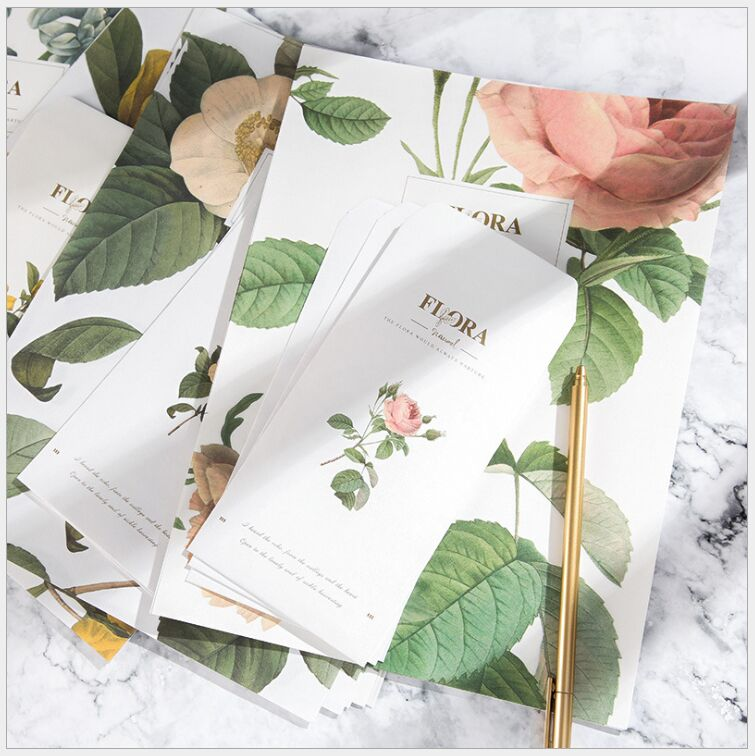 Flora Green Plants Retro flowers Letter paper 6 Pages letter paper+3 Pages envelope Set Writing Paper Love Letter Stationery