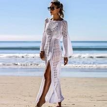 Ashgaily 2019 Crochet White Knitted Beach Cover up dress Tunic Long Pareos Bikinis Cover ups Swim Cover up Robe Plage Beachwear