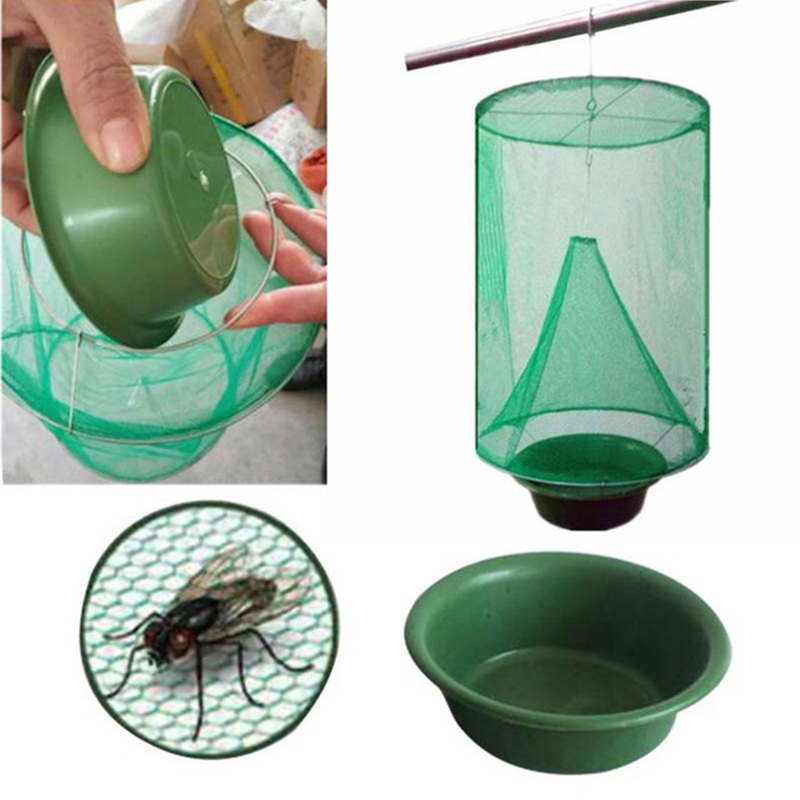 1PCS Garden Home Yard Supplies Bagriculture Tools Pest Control Reusable Hanging Fly Catcher Killer Flies Flytrap Cage Net Trap
