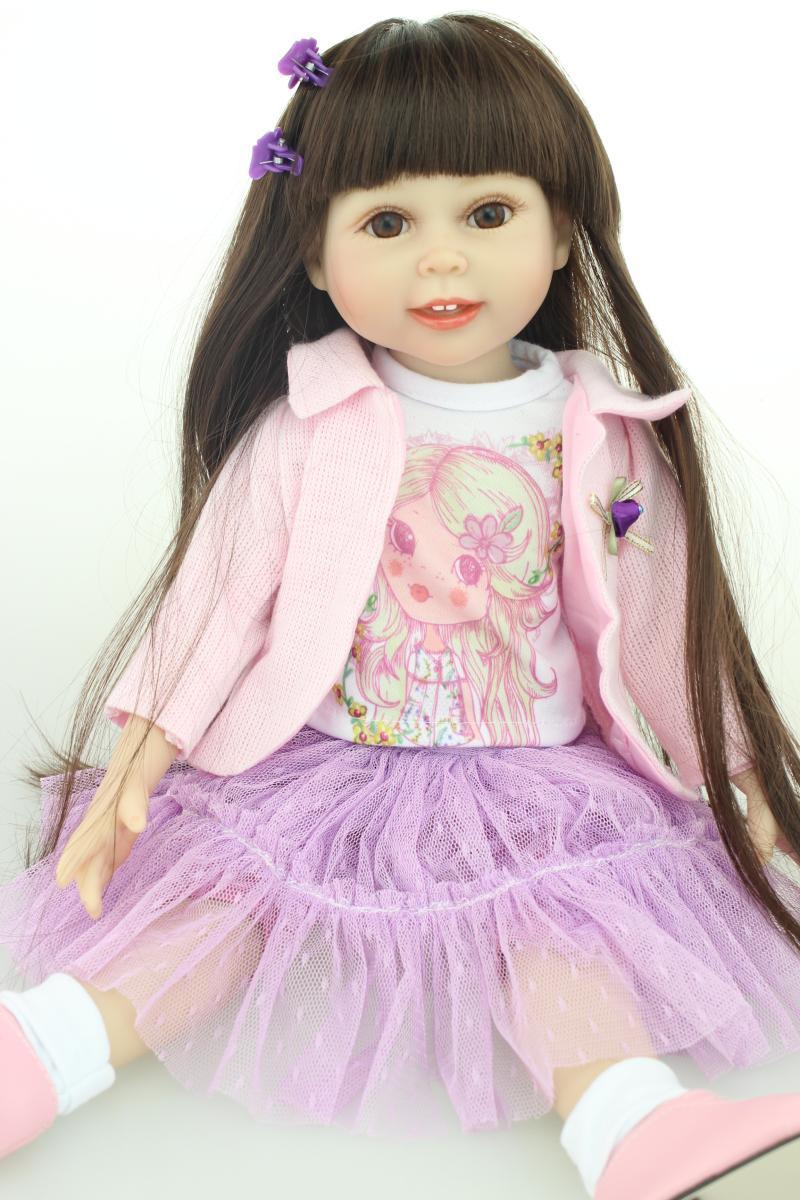 18 ''45 cm ragazza capelli lunghi castani american beauty principessa reborn handmade completa del corpo del vinile neonato bambola reborn ragazze regalo-in Bambole da Giocattoli e hobby su  Gruppo 1