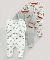 3 Pcs Baby Boys Footed Jumpsuit Cotton Newborn Clothes Long Sleeve Toddler Sleepwear Pajamas Infant Clothing