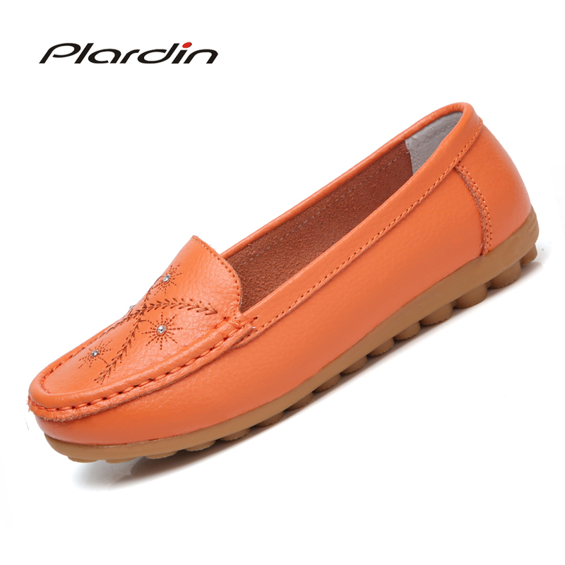 plardin 2018 Genuine Leather Rhinestone Women Ballet Flats Summer Casual Womens Shoes Woman Loafers Leather Retro Nurse Shoes ...