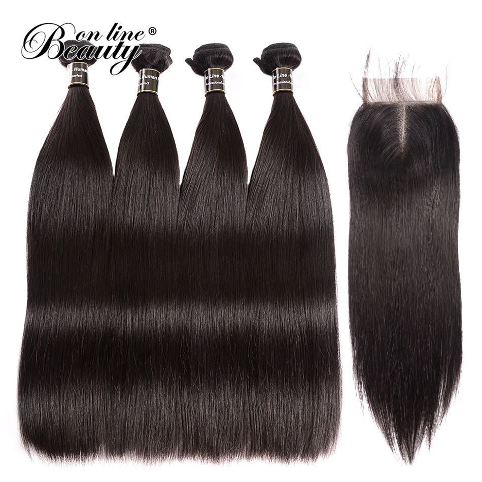 Malaysian Straight Hair 4 Bundles With Closure Middle Part Remy Human Hair Bundles With Closure 5 Bundles Soft Hair BeautyOnline