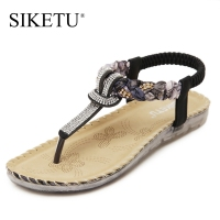 SIKETU Brand Women Fashion Classic Sandals Summer Leather Back Strap Crystal Wedges Beach Shoes Women Slides Flip Flops Shoes