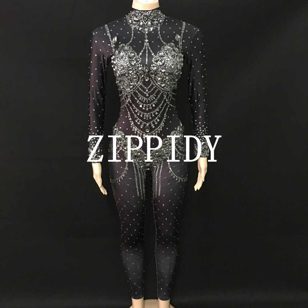 94bacbf7567f3 2 Colors Sparkly Rhinestones Jumpsuit Stretch Black Red Big Stones Birthday  Outfit Prom Party DJ Female Singer Leggings Bodysuit