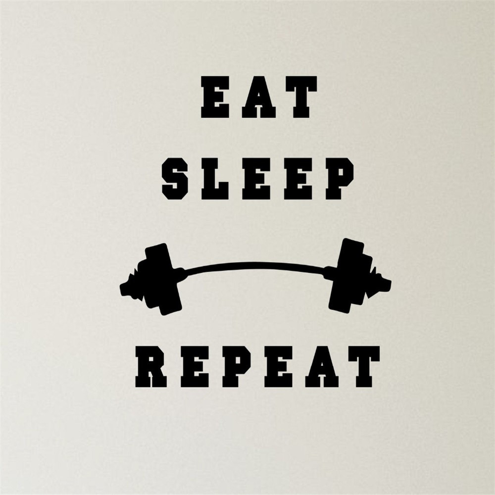 Fitness Simple Designed Quotes GYM Sport Wall Stickers Home Decor Eat Sleep Repeat Quotes Sport Style Vinyl Wall Decals
