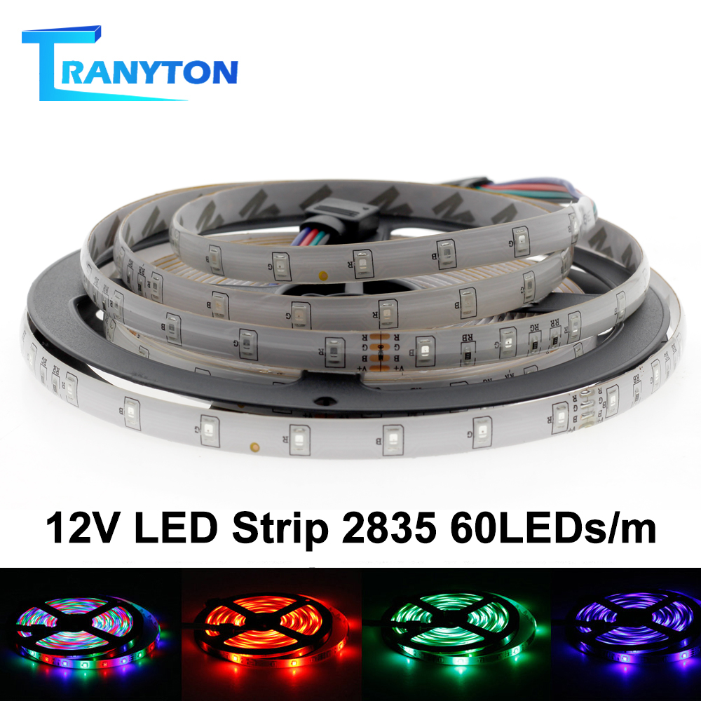 LED Strip 5050 2835 DC12V Flexible LED Light Tape 60LEDs/M White / Warm White / Blue / Green / Red Waterproof RGB LED Strip 5M