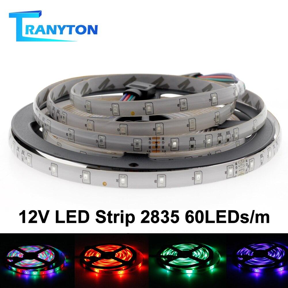 LED Strip 5050 DC12V 60LEDs/M Flexible  LED Light Tape White Warm White Blue Green Red  RGB Waterproof RGB Strips 5M/lot