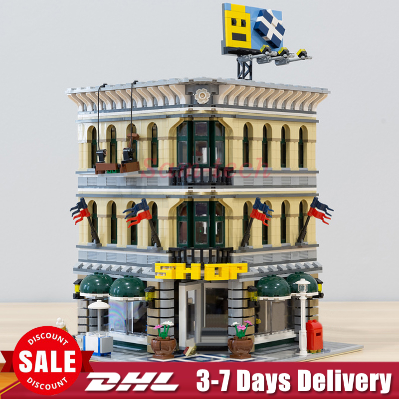 LEPIN 15005 City Street Grand Emporium Model Building Kits Blocks Assembling Bricks Compatible 10211 Educational Toys Gifts lepin 15009 city street pet shop model building kid blocks bricks assembling toys compatible 10218 educational toy funny gift