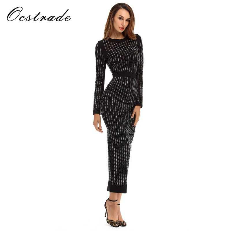 b41517a1755d65f ... Ocstrade облегающее платье 2017, новая мода красивые длинные рукава  женские миди для ночного клуба вечерние ...
