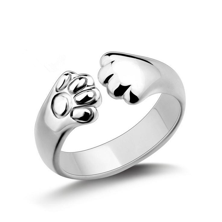 New arrival hot sell fashion little cat feet design 925 sterling silver ladies`finger rings women jewelry wholesale gift
