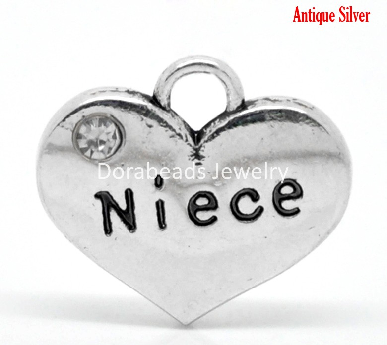 DoreenBeads 20PCs Antique Silver Rhinestone Niece Heart Charm Pendants 16mmx14mm(5/8x 4/8) (B19612) yiwu ...