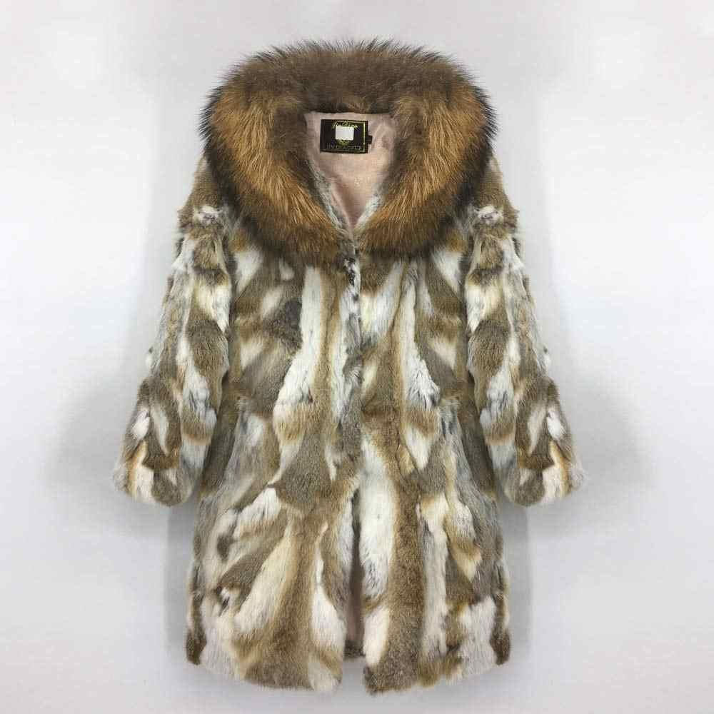 新リアルウサギの毛皮とアライグマの毛皮の襟の女性フル個天然ラビットファーコート厚く暖かいオーバーコートの上着