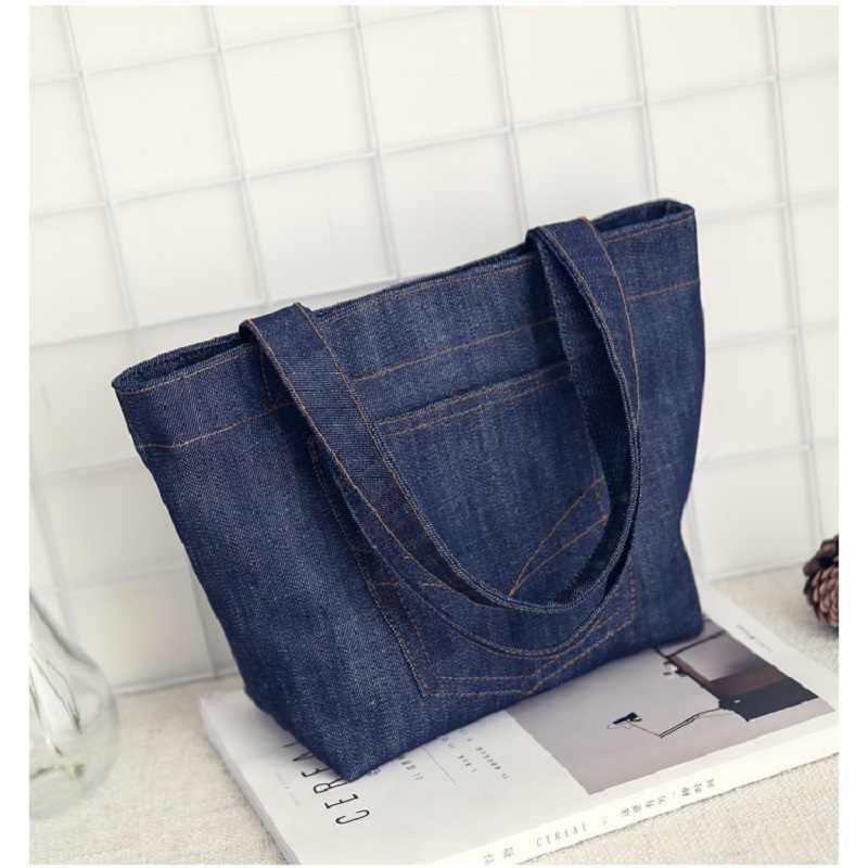 Moda simples do vintage jeans denim aberto bolsas femininas bolsas meninas bolsa de ombro bolsa de compras totes bolsa feminina