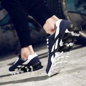 Image 4 - בתוספת גודל 49 למבוגרים לערבב צבע גברים לנשימה נעליים יומיומיות גל להב תחתונה עיסוי בלעדי גברים קיץ נעלי רשת אדום 15