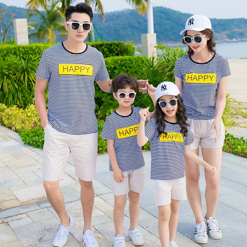2018 Summer family look cotton family clothes mother daughter father son striped T shirt + Shorts Sets Outfits Happy ...