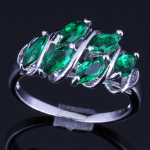 Pleasant Green Cubic Zirconia 925 Sterling Silver Ring For Women V0128