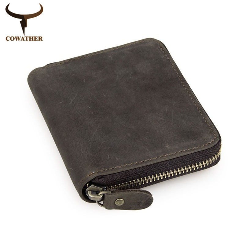 COWATHER top quality cow crazy horse genuine leather men wallets for men male purse luxury carteira masculina free shipping cowather top quality crazy horse leather mens wallet for men 2017 new design vertical style coffee black purse 114free shipping