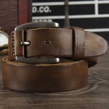 New 2019  crazy horse cowhide leather belt genuine leather belt for men brown color pin buckle jeans strap vintage cinto