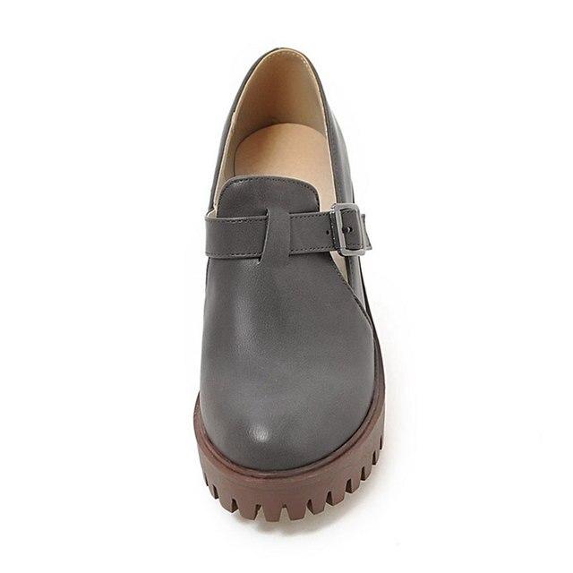 Fanyuan chaussures décontractées femmes 2018 dames talons bout rond scarpe donna noir Beige gris PU cuir plate-forme chunky talon pompes