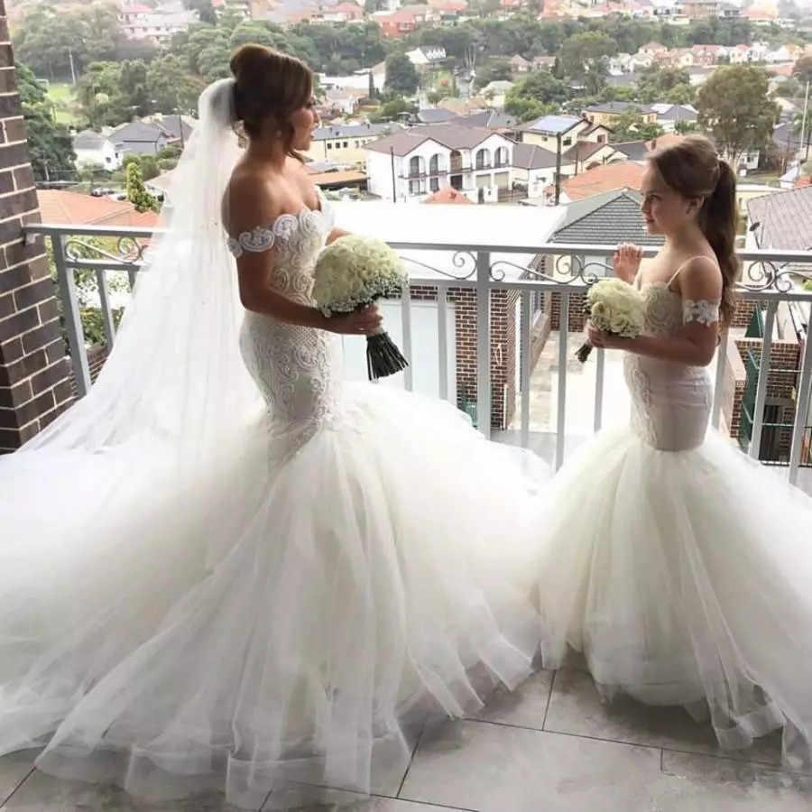 Hermosos vestidos de flores de sirena para niñas con Apliques de encaje Spaghetti vestidos de Primera Comunión para niñas vestidos de desfile por encargo