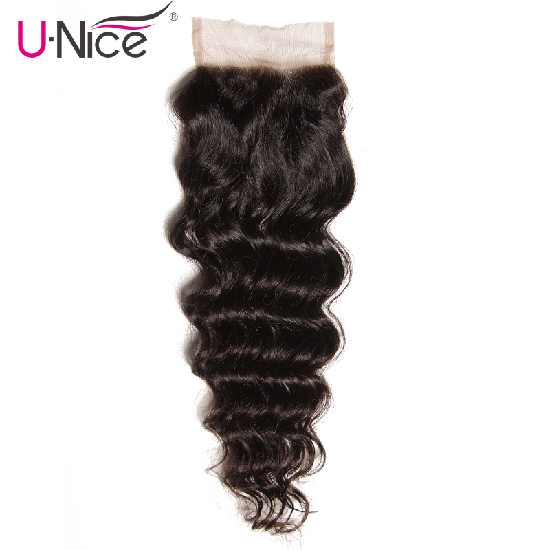 UNICE HAIR Brazilian Natural Wave Lace Closure Free Part 100 Human Hair Closure 10 20 Remy