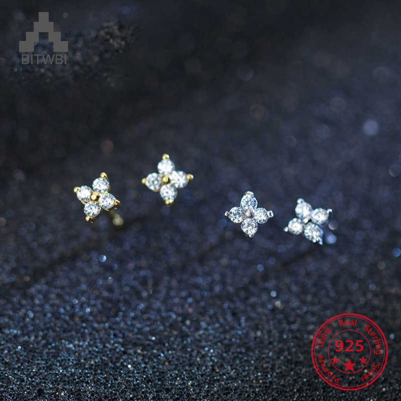 100% Real 925 Sterling Silver Flower Stud Earrings with Shinny CZ Zircon Top Quality Fine Jewelry For Women Girls