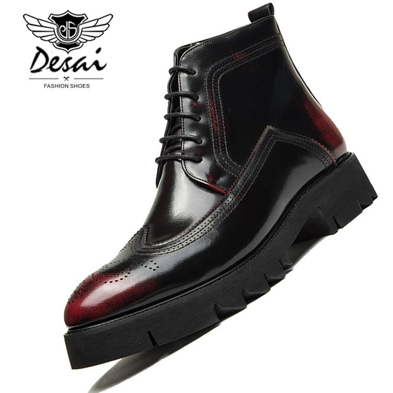 Ausdauernd Luxus Marke Männer Stiefel England Spitzen Leder Schuhe Frühling Winter Männer Geschnitzt Business Casual Stiefel Lace-up Hohe Home Geschnitten Schuhe Männlich