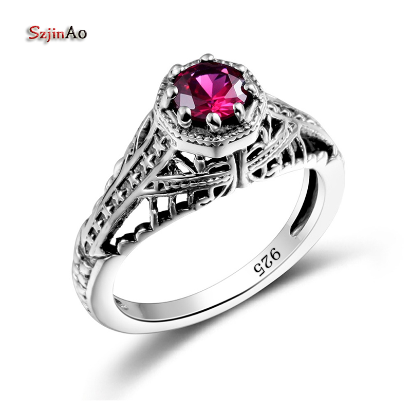 Szjinao Princess Palace Carved Star Garnet Vintage Ring Religious 925 Sterling Silver Women Wedding Engagement Jewelry