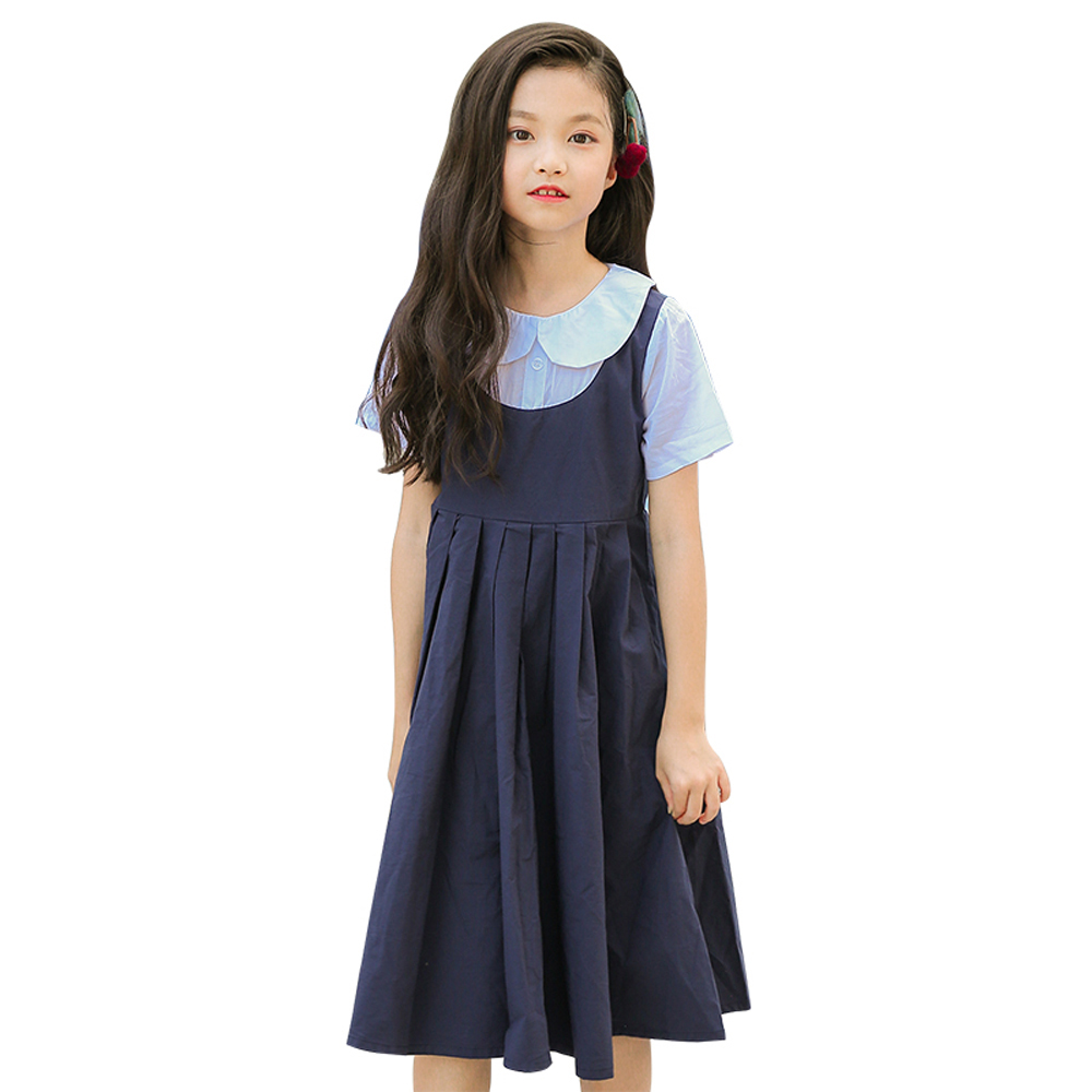 B-S95 New Fashion Spring Girls Casual Dresses Early Summer Fake two pieces Princess Dress 5-13T Teenager Kids Solid color Dress