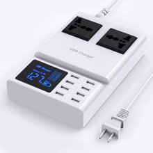 Multi Port USB Charger 8A LED Digital Display 2 Outlet AC Socket 2500Watt Charging Station For Smartphone ,Cell Phone and tablet orico dsp 4u 4 port usb wall charger for smartphone tablet ac 100 240v