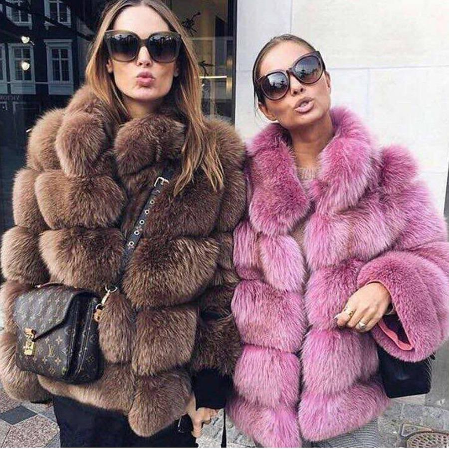 Rosa Java QC8139 2017 nueva llegada mujeres invierno grueso abrigo de piel real Fox chaqueta de piel de alta calidad zorro pie traje collar