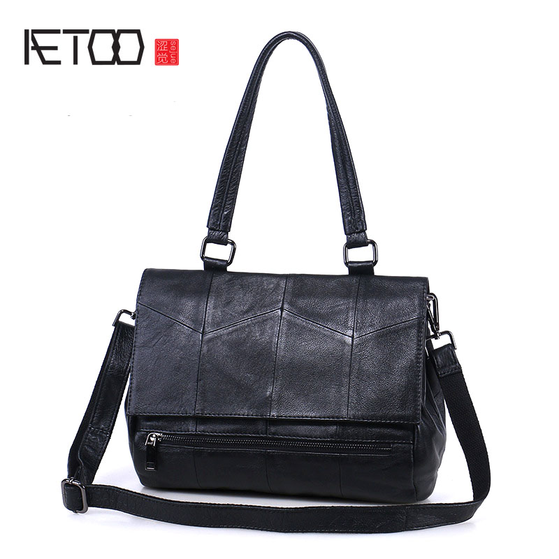 AETOO The new handbags leather shoulder bag handbag big bag Korean version of the first layer of leather oblique cross package bag female new genuine leather handbags first layer of leather shoulder bag korean zipper small square bag mobile messenger bags