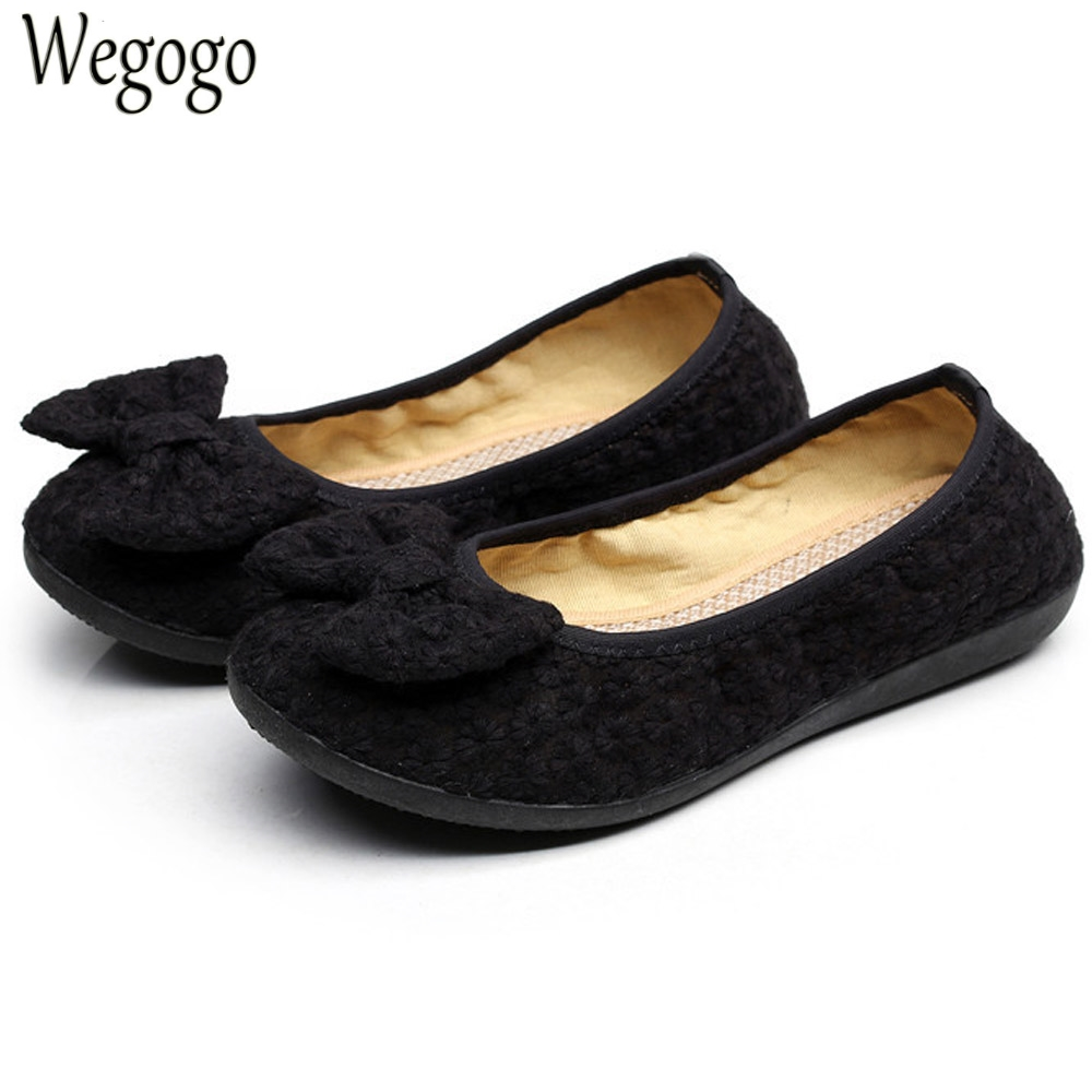 Women Black Flats Shoes Old Beijing Bow Cloth Bowtie Loafers Casual Soft Ballerina Shoes For Woman Moccasins Female Footwear vintage embroidery women flats chinese floral canvas embroidered shoes national old beijing cloth single dance soft flats