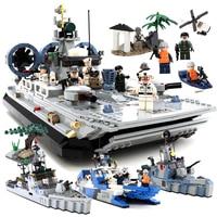 GUDI City Military Navy Warships Destroyer Battleship Boat Ferry Building Blocks Sets Bricks Model Kids Toys Compatible Legoings