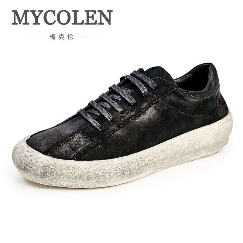 MYCOLEN New 2018 Fashion Mens Shoes Outdoor Men Lace-Up Walking Shoes Black Men Casual Shoes Men Personality Flats Shoes couples high help shoes men s 2018 new trend shoes personality rivets casual shoes gold board shoes mens flat shoes 35 44