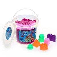 500g Magia Espaço Areia Brinquedo Cano Com 6 pcs Moldes Ferramenta de Modelagem de Argila Colorida Plasticina Não-tóxico para Crianças Brinquedo do jogo de Areia