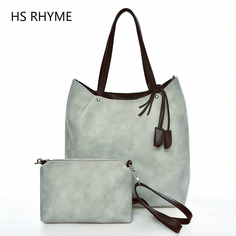 HS RHYME brand new casual female tote composite handbag ladies pack hot sale simple large capacity fresh women shoulder bag SAC brief design shoulder cross body composite ladies bag new women retro handbag large capacity tote pu leather solid female page 4
