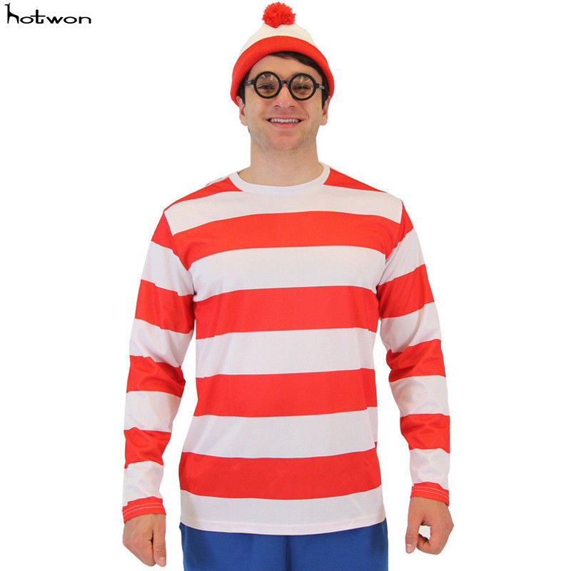 2018 Christmas Red Striped T-shirt Wholesale Arrival Brand Winter T Shirts Designer Finger Long Sleeve Cotton
