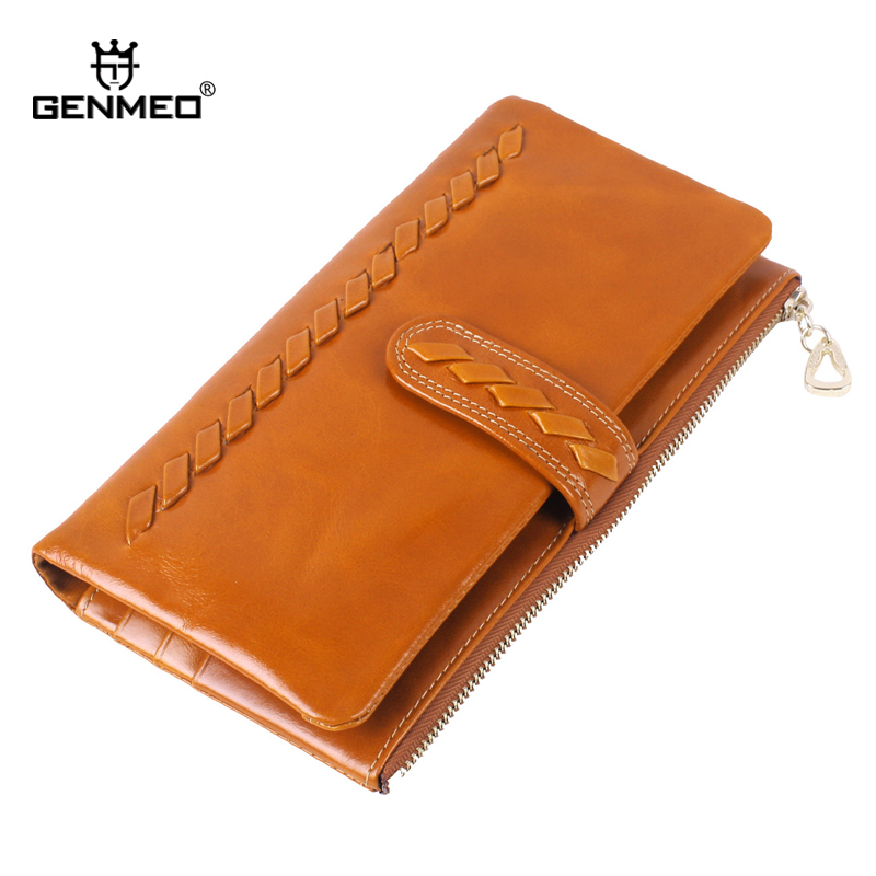 MAIFEINI New Arrival Knitting Style Wax Cow Leather Wallets Women Genuine Leather Wallet Ladies Card Holder Purse Handbags new designer 3 fold wallet women oil wax leather wallets cow genuine leather for man fashion card holder short purse ladies bag