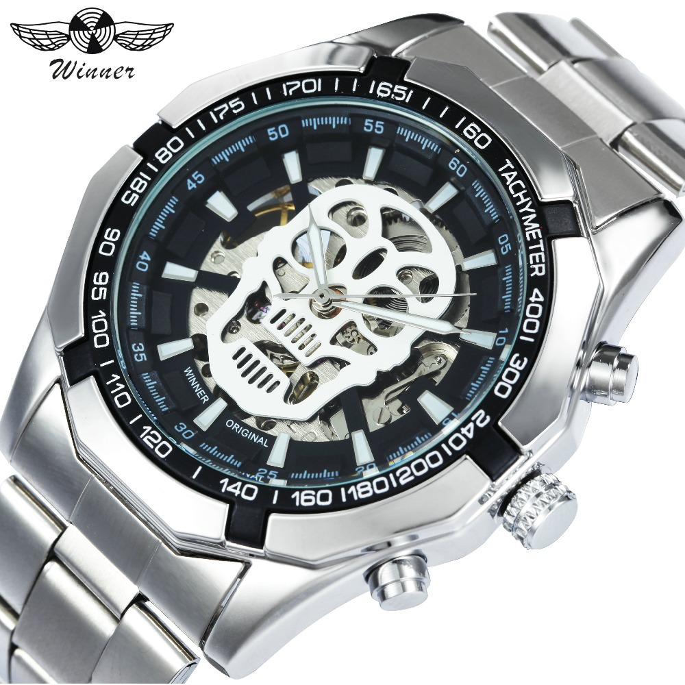 WINNER Watches Men 2018 Top Brand Luxury Automatic Mechanical Wristwatches Silver Stainless Steel Strap Skull Skeleton Clock цена