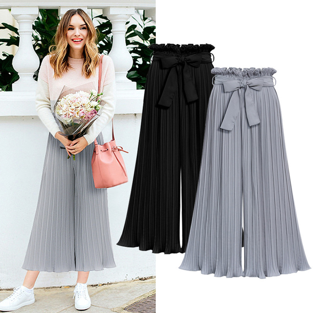 Feitong Autumn And Winter Women Pants Ladies Fashion Summer Casual Loose Elasitc Waist Wide Leg Plus Size Pants For Women