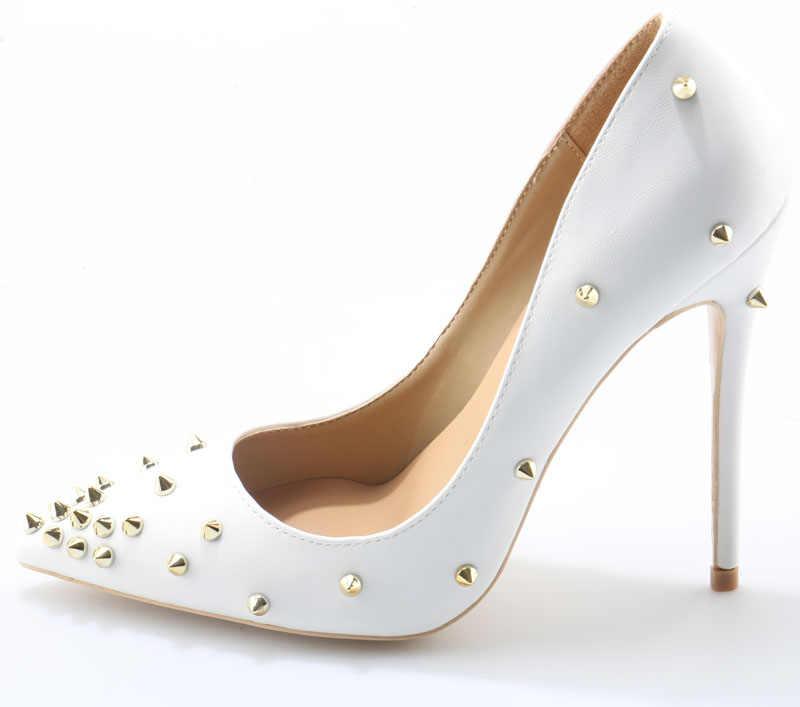 Seksi kadın Metal perçin çiviler parlak deri Stilettos pompaları sivri burun bayanlar sivri kayma gelin elbise yüksek topuklu ayakkabılar