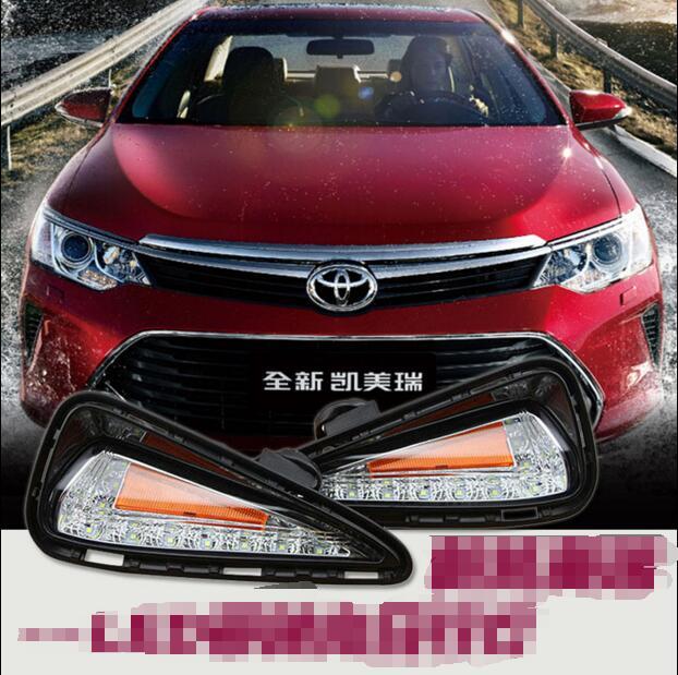 ФОТО Hireno Car LED DRL Waterproof ABS 12V Daytime Running Lights for Toyota Camry 2015 Fog lamp 2PCS