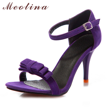 Ankle Strap High Heels Sandals Bow Ladies Sandals Purple Green Black Shoes