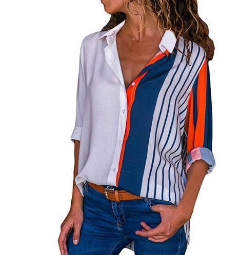 Women   shirt   2019 New Women Summer Autumn Tops And   Blouses     Shirt   Plus Size Long Sleeve Striped Print Women   Blouse     Shirt